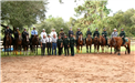 Graduating class mounted on horseback outdoors