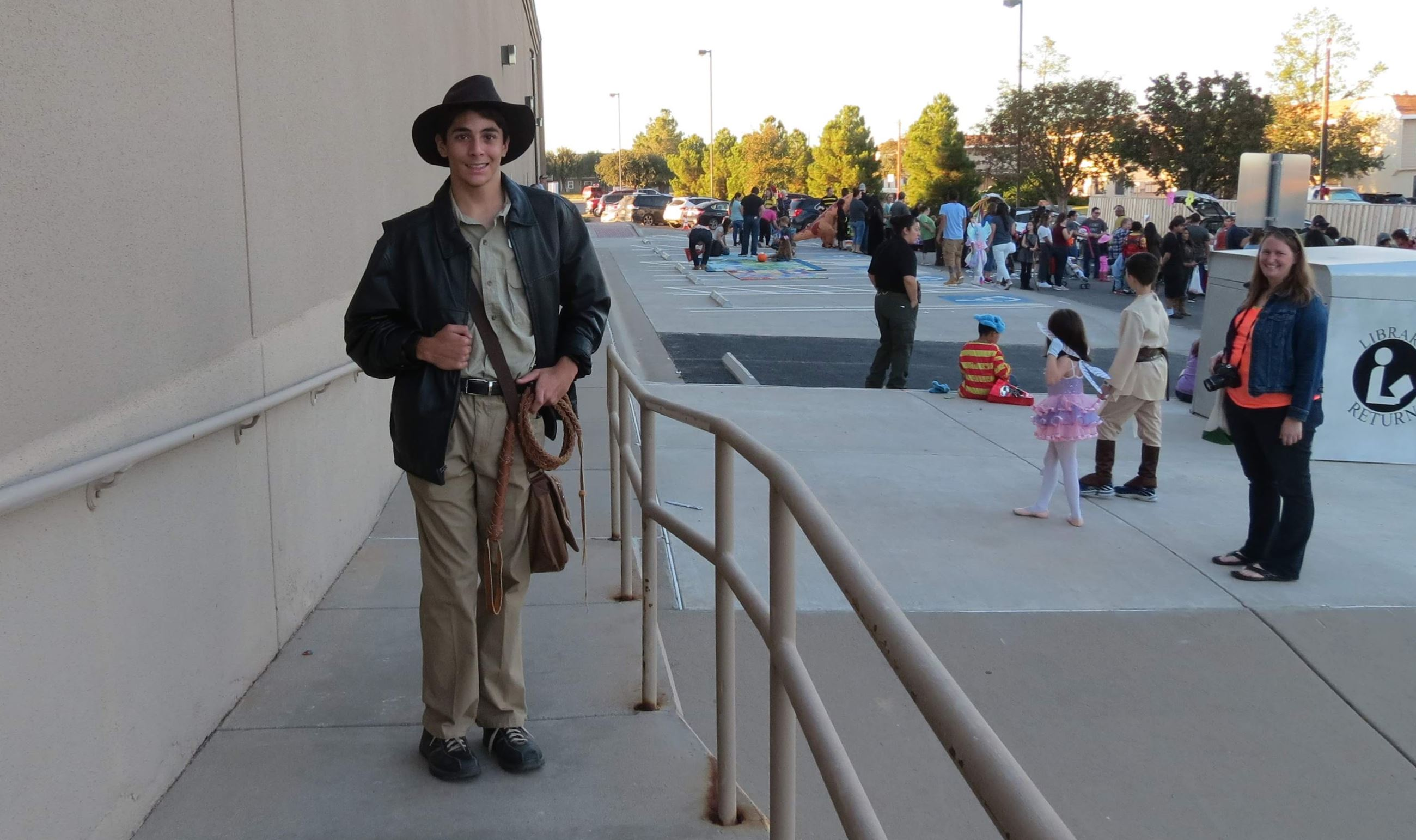 Boy dressed up as Indiana Jones.