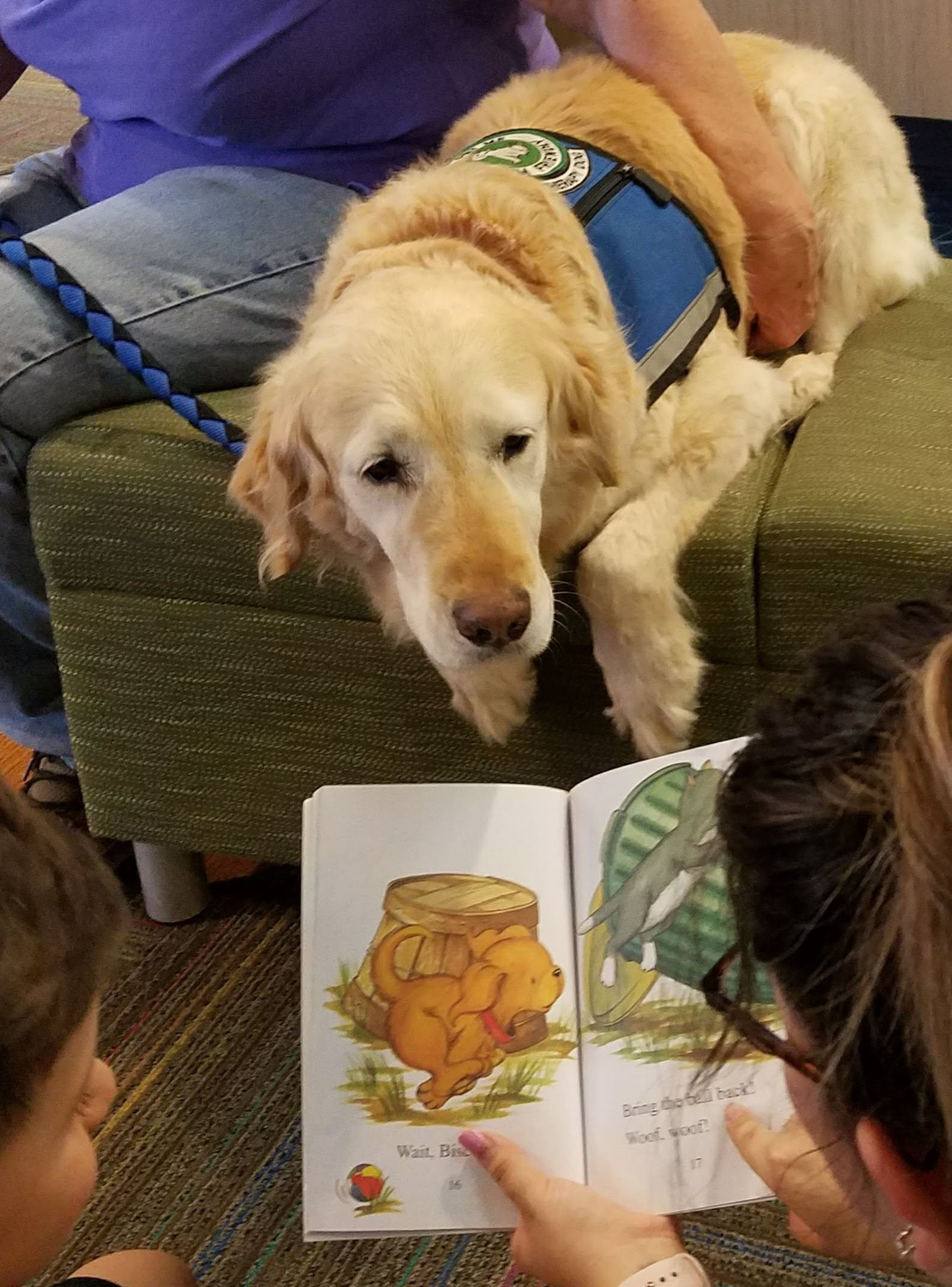 Golden Retriever looks on as boy reads with mother's help