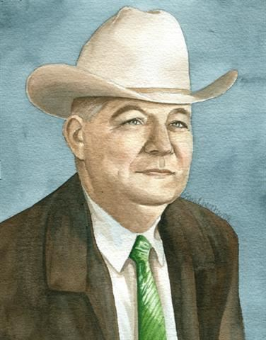 Watercolor portrait of Sheriff Ed Darnell