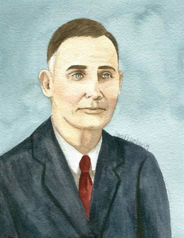 Watercolor portrait of Sheriff  A. C. Francis