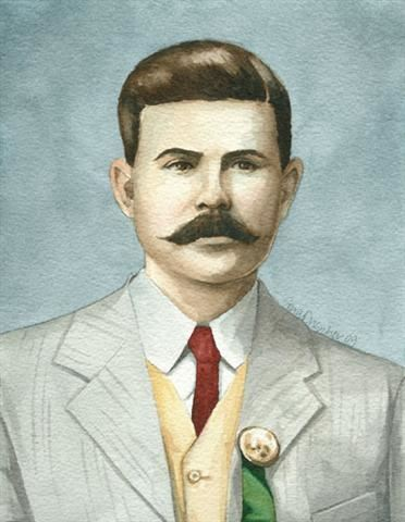 Watercolor portrait of Sheriff W. M. Beverly