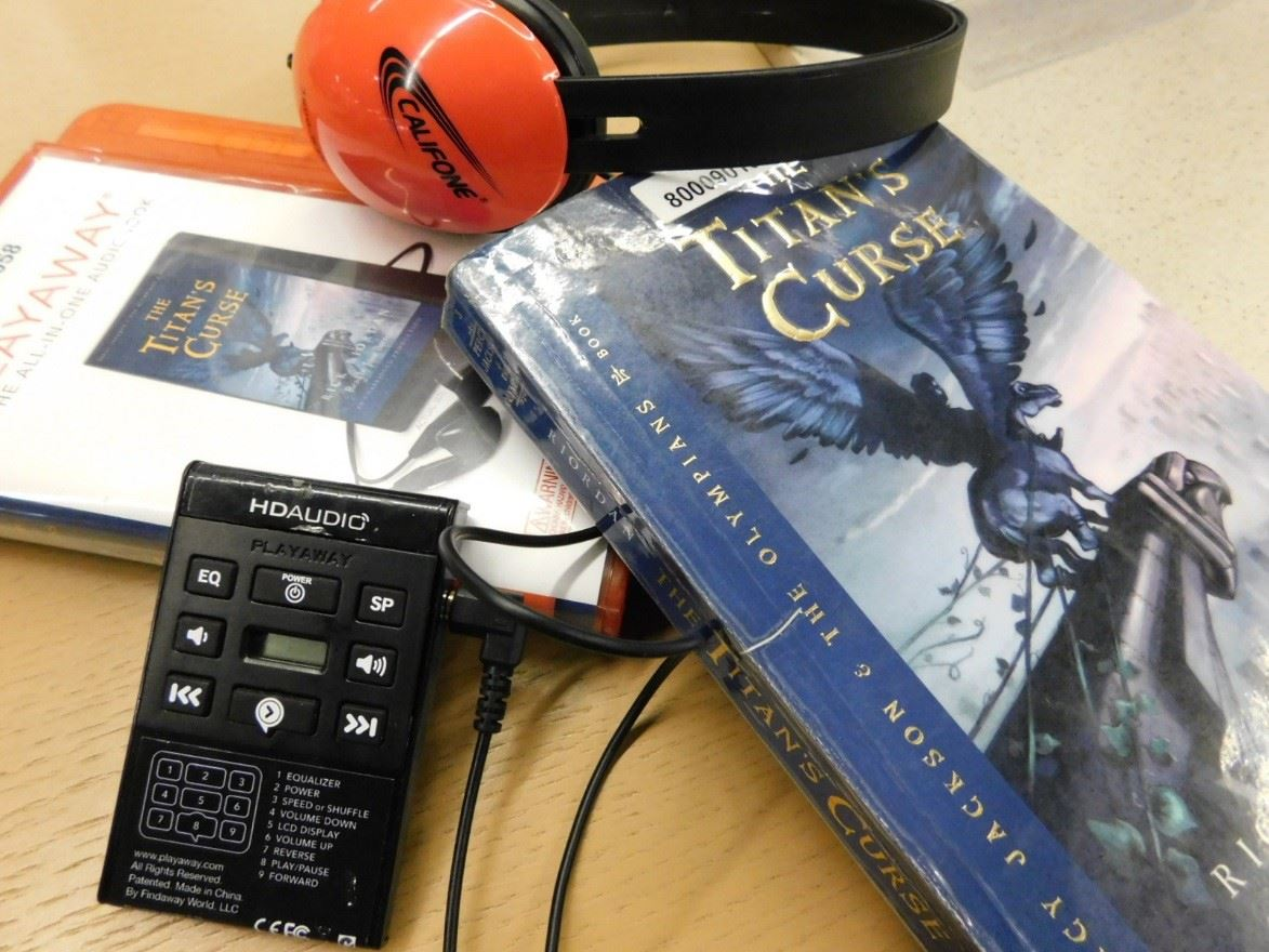 Bookpacks  audio book and book with headphones