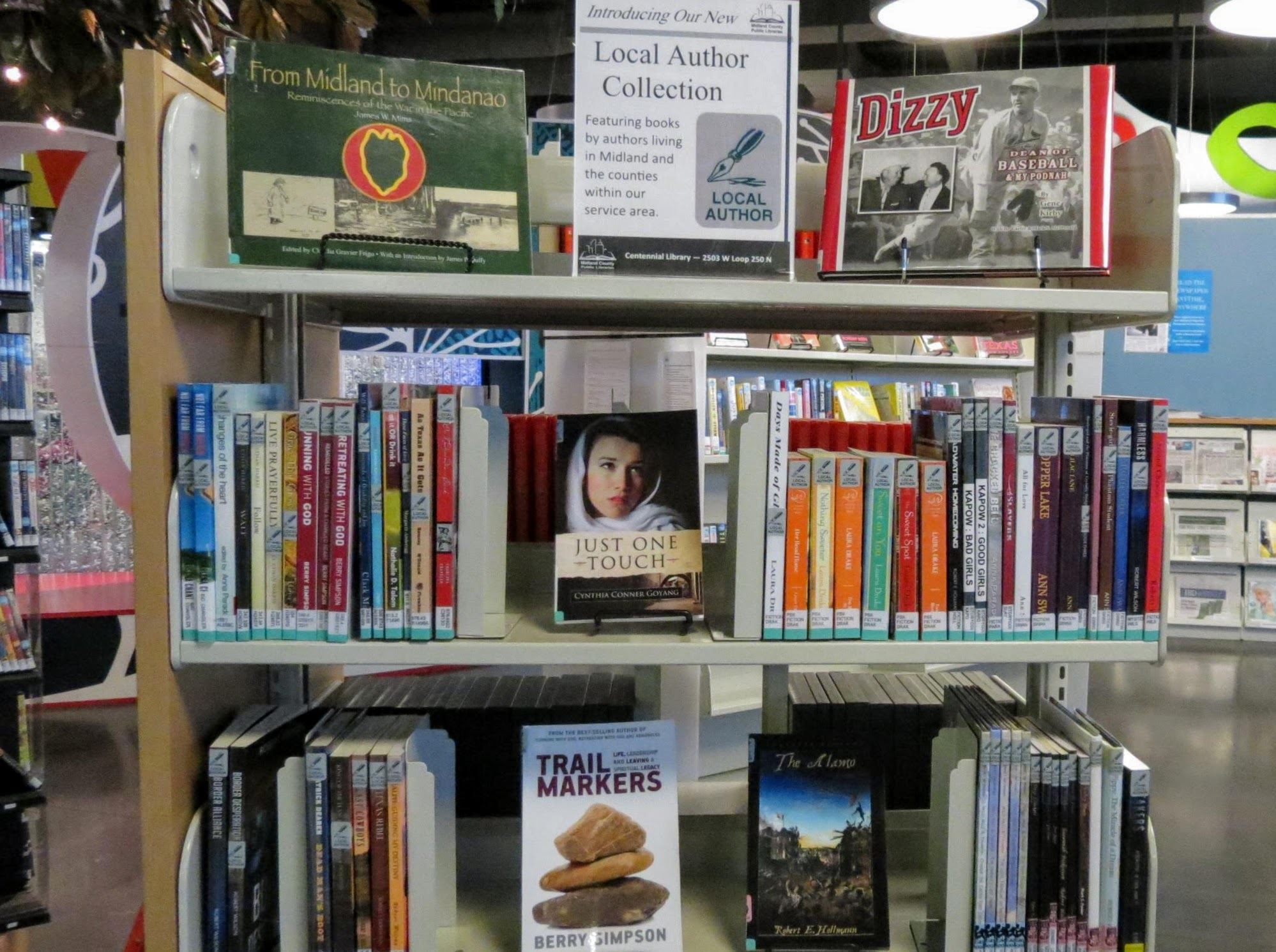 books on shelf with local author titles